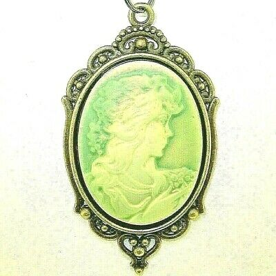 "New Large Lovely Antique-look Green CAMEO Bronze-tone Pendant 18"" - 20"" Necklace"