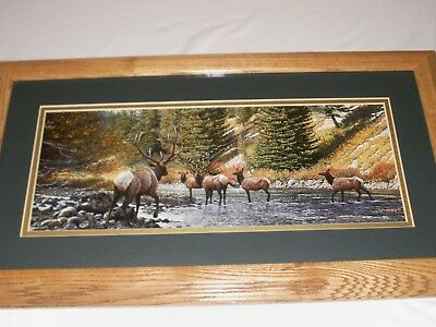 Home Interiors?? Deer Elk Herd in Stream Picture by Weirio Solid Oak Frame EUC
