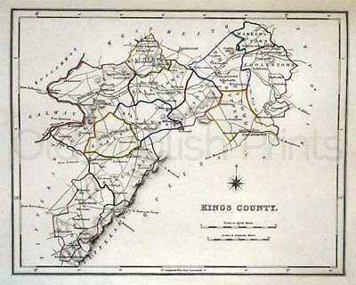 Kings County 1897 Antique Irish Map of Kings County - PRINT 8x10in - FREE P&P UK