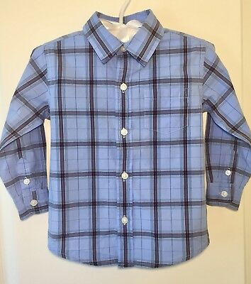 EUC! JANIE AND JACK Boys 18 24 Months Blue Plaid Button Up Long Sleeve Shirt