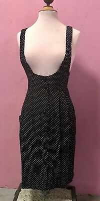 08a6700b4750 VTG Vintage 80s 90s Black and White Polka Dot Pinafore Dress Suspender  Skirt 5 6