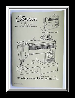 SINGER Finesse or Viscount Models 807 & 827 sewing machine instruction Manual