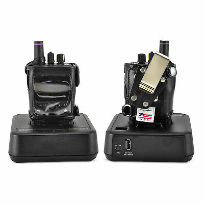 Unication G4 G5 Voice Pager Fire 2 Way Radio Black Leather Case Metal Belt Clip