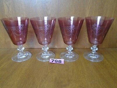 Victorian / Edwardian Etched Cranberry Glass Claret Wine Glasses / Water Goblets