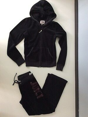 Juicy Couture Black Velour Tracksuit Hoodie & Bottoms Age 8-10 Years
