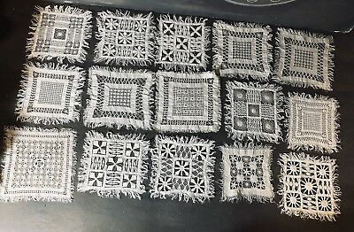 15 antique square Lace Drawnwork doilies coasters very detailed Art-Handmade