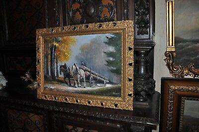 Lovely Large  Antique   Horse Drawn work wagon   Painting  o/C