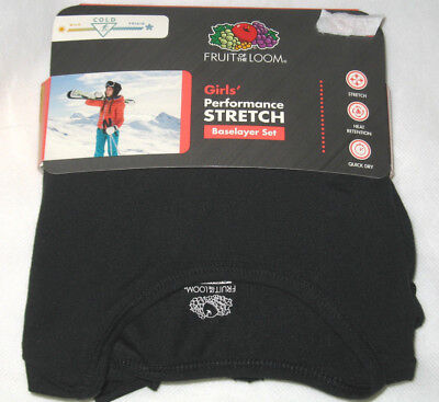 Fruit of the Loom Girls Performance Stretch Base Layer 2-Pc Set Black S M L NEW