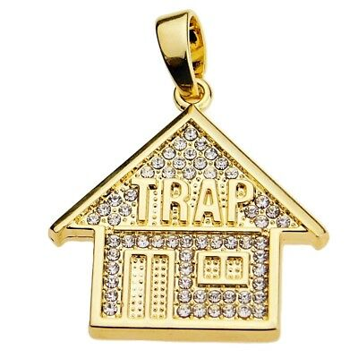 "Trap House Pendant Iced-Out Bling Hip Hop Jewelry Trappin Mini Charm 1.35"" Inch"
