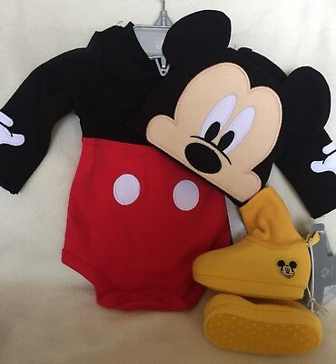 Disney Store Mickey Mouse Baby Costume Bodysuit & Ears Hat Plus Shoes/Slippers