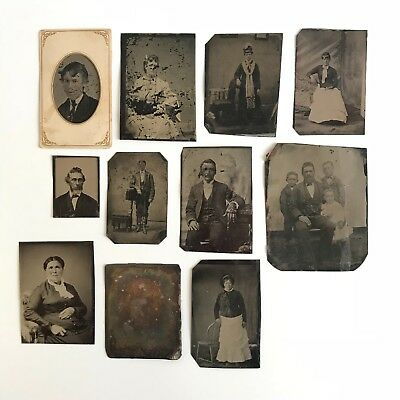 Lot of 10 TINTYPE PHOTOS - 19TH Century - 1800s - Father & Children / Portraits