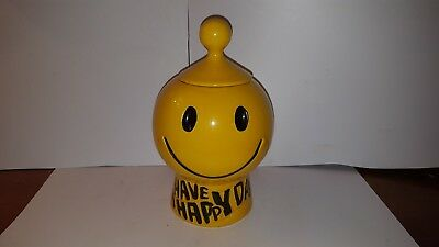 """Vintage McCoy Bright Yellow """"Have A Happy Day"""" Cookie Jar"""