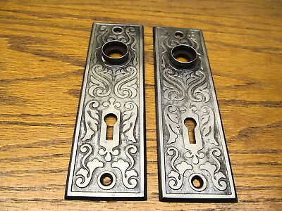 Pair Old Stamped Metal Door Knob Plates...backplate ...escutcheon Ornate