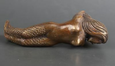 Mermaid Big Chinese Old Bronze Hand Carved Statue Cane Walking Stick Head