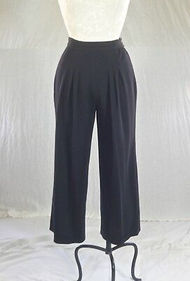 SONIA RYKIEL vintage 70s black wool PANTS TROUSERS understated French style XS-S