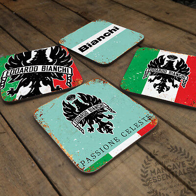 BIANCHI Collection Vintage Glossy Wooden Coaster Retro Bike Gift Cyclist Drink