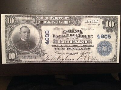 Reproduction $10 National Bank Note 1902 National Bank The Republic Chicago, IL