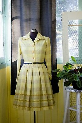 Vintage 1940s 50s Yellow Shirtwaist Dress by Loom and Needle Lexington Kentucky