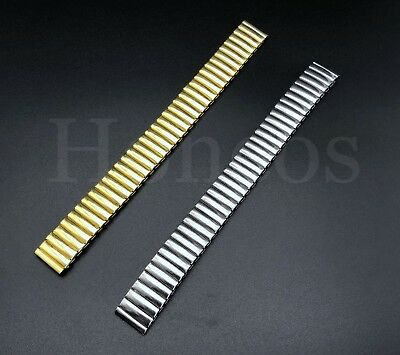 12 - 22 MM Stretch Expansion Stainless Steel Watch Band Strap Bracelet Gold USA