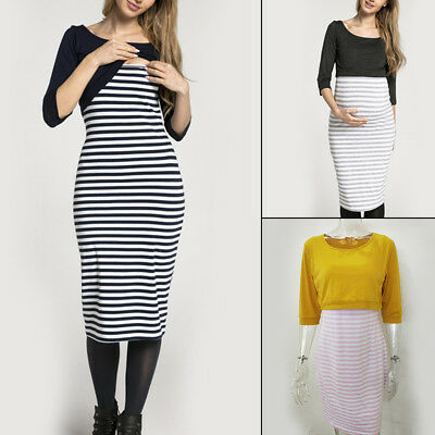 Fashion Breastfeeding Nursing Pregnant Women Striped Dresses Ladies Clothes