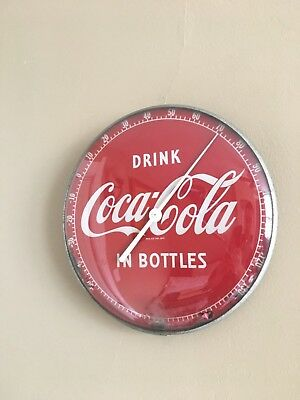 """Original Vtg Coca Cola 12"""" Round """"Drink In Bottles"""" Glass Front Thermometer Sign"""