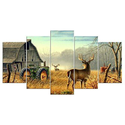 Deer Farmer Barn Tractor 5 Pieces canvas Wall Art Poster Picture Home Decor