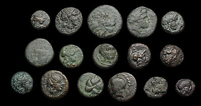 GREEK. Lot of 16 small bronze coins to ID, Various types