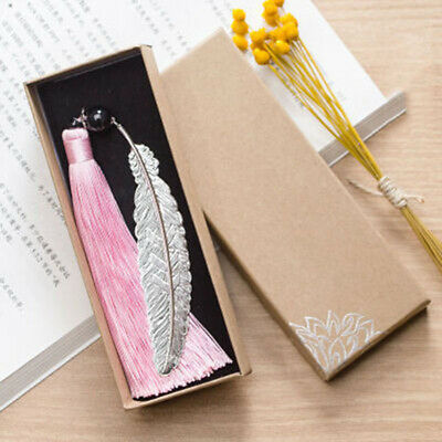 Pink Tassel Feather Bookmark Chinese Folk National Collectible Friend Gift