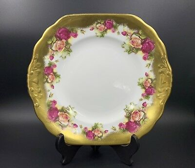 Royal Chelsea Gold Rose Cake Plate Platter With Handles Bone China England