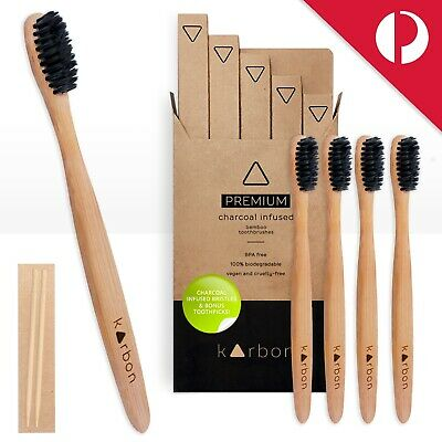 CHARCOAL Infused BAMBOO Toothbrushes 5Pack Soft Bristle Vegan BPAfree AUS SELLER