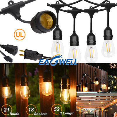 HOT 52FT LED Outdoor Waterproof Commercial Grade Patio Globe String Lights Bulbs