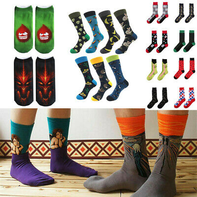Men High Ankle Cotton Crew Socks Fathers Day Casual Sport Stocking