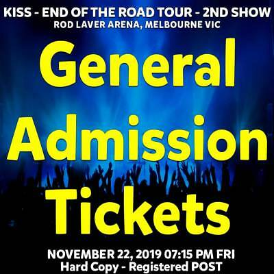 Kiss : End Of The Road   Melbourne   General Admit Rear Tickets Fri 22 Nov 2019