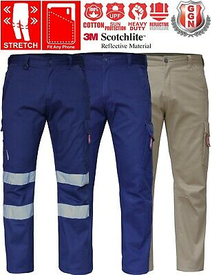 CARGO PANTS Mens Work Trousers Classic Fit UPF 50+ Stretch Cotton Drill 3M Tape