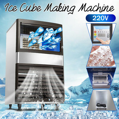 55Kg Commercial Ice Maker Cooling Making Machine Cube Stainless Bar Restaurant