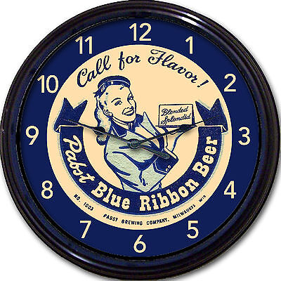 Pabst Blue Ribbon PBR Beer Coaster Wall Clock Milwaukee WI Ale Lager Man Cave