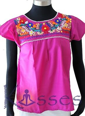 Mexican Peasant Blouse Hand Embroidered Top Colors Vintage Style Tunic BrtPurple