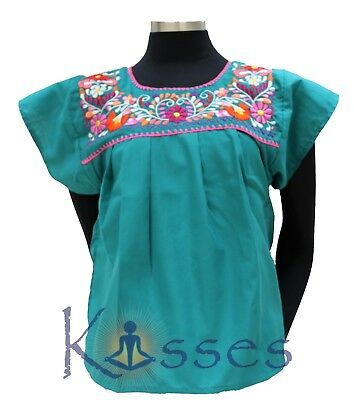 Mexican Peasant Blouse Hand Embroidered Top Colors Vintage Style Tunic TealGreen