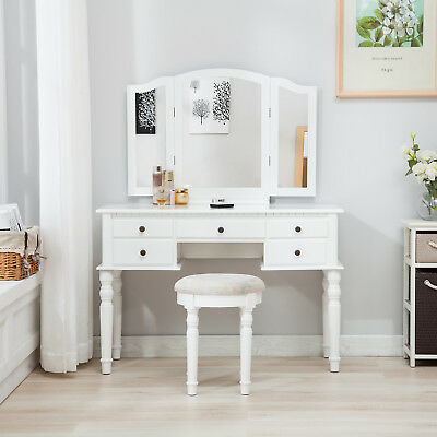 5 Drawers White Dressing Table Makeup Desk With 3 Folding Mirrors