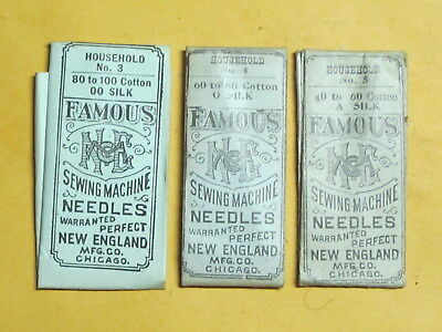 American #7 Sewing Machine Needles, 3 Packs, 6 Needles, Asst Sizes