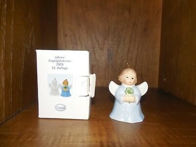 Goebel ~ Angel Bell 2009 ~ Annual Ornament ~ Blue Holding Clover ~ Mint