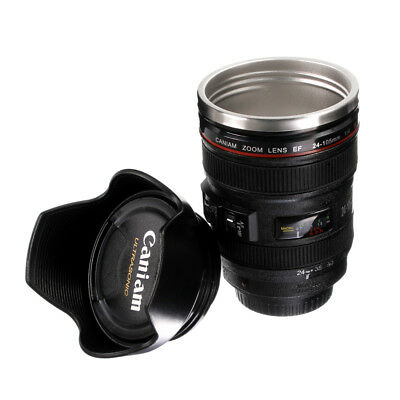 Stainless Steel Camera Lens Coffee Tea Mug Cup Thermos Canon EF 24-105mm