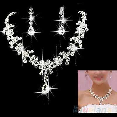 ALS_ Rhinestone Drop Pendant Necklace Earring Jewelry Set for Wedding Bridal New