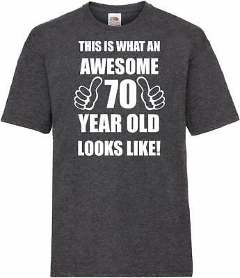 70th 70 Year Old Seventieth Birthday Presents Mens Heather Awesome T-Shirt