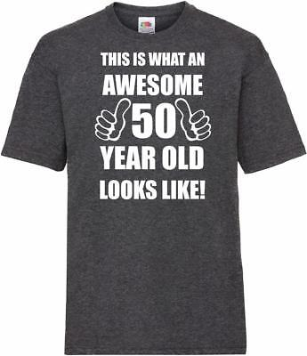 50th 50 Year Old Fiftieth Birthday Presents Mens Heather Awesome T-Shirt