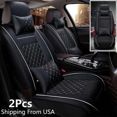 Deluxe Edition Car Seat Cover Cushion 5-Seats 2 Front PU Leather Seat Protector