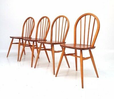 4 X VINTAGE RETRO ERCOL BLONDE STICK HOOP BACK KITCHEN DINING CHAIRS 1960s ELM