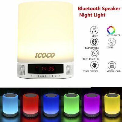 Night Light Bluetooth Speaker Mini Portable Wireless Touch Control LED Lamp VP
