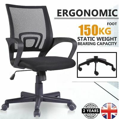 Office Mesh Chair Computer Desk Fabric Adjustable Ergonomic 360° Swivel Lift New
