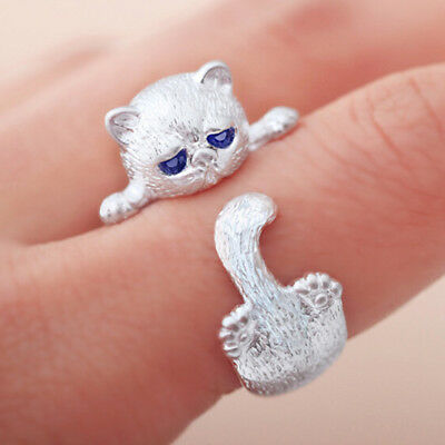 Silver Cat Kitten Face Tail Animal Pet Adjustable Ring Jewelry Accessories IT
